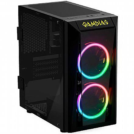 Gabinete Gamer Gamdias Talos E1 - Lateral e Frontal em Vidro Temperado - com 2 Coolers RGB - USB 3.0