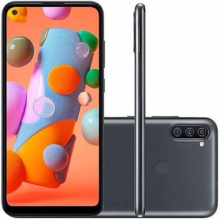 """Smartphone Samsung Galaxy A11 - Tela 6.4"""", 64GB, Dual Chip, Câmera Tripla 13MP - Preto - SM-A115M/DS"""