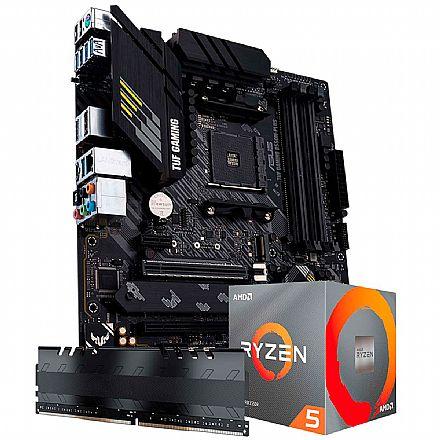 Kit Upgrade AMD Ryzen™ 5 5600X + Asus TUF GAMING B550M-PLUS + Memória 8GB DDR4 (2x4GB)