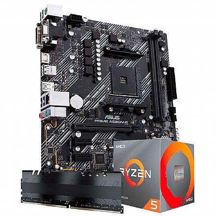 Kit Upgrade AMD Ryzen™ 5 5600X + Asus PRIME A520M-E + Memória 8GB DDR4 (2x4GB)