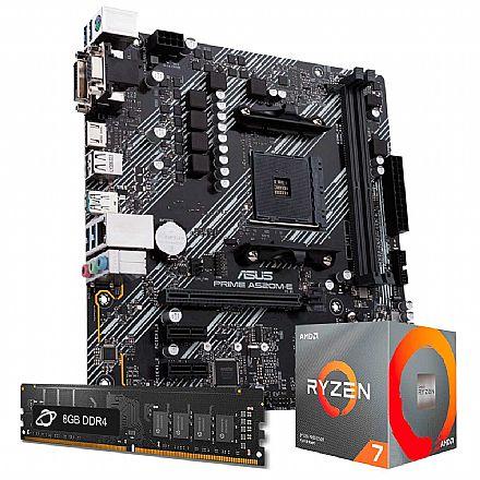Kit Upgrade AMD Ryzen™ 7 5800X + Asus PRIME A520M-E + Memória 8GB DDR4