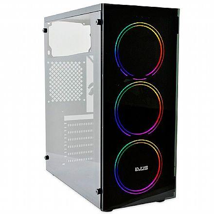 Gabinete Gamer Evus EV-G14 - Frontal em Vidro Temperado e Lateral em Acrílico - 3 Coolers RGB Inclusos