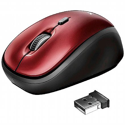 Mouse sem Fio Trust Yvi - 1600dpi - Vermelho - T19522