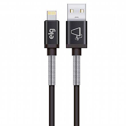 Cabo Lightning para USB - com Mola Inox de Proteção - para iPhone, iPad, iPod - ELG SP810BK