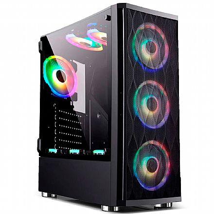 Gabinete Gamer Bluecase BG-025 - Lateral em Vidro Temperado - USB 3.0 - Mid Tower