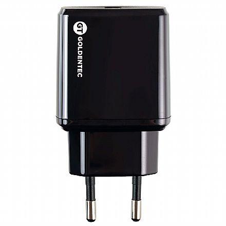 Carregador de Parede USB - Goldentec GT 3.0 - Carregamento Turbo - USB de 3A - Preto - 39844