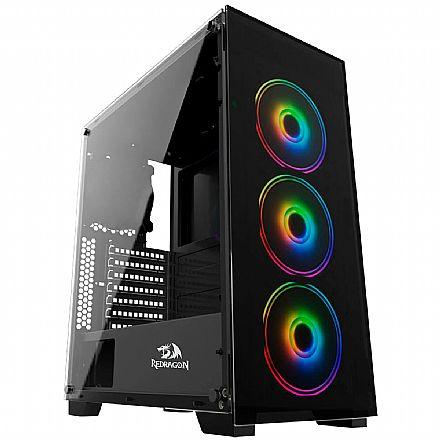 Gabinete Gamer Redragon MixMaster - Lateral em Vidro Temperado - com 3 Coolers RGB Chroma - USB 3.0 - GC-618