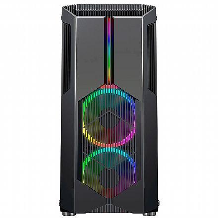 Gabinete Gamer Redragon Grindor - Lateral em Vidro Temperado - com Frontal Chroma e 2 Coolers RGB - USB 3.0 - GC-616