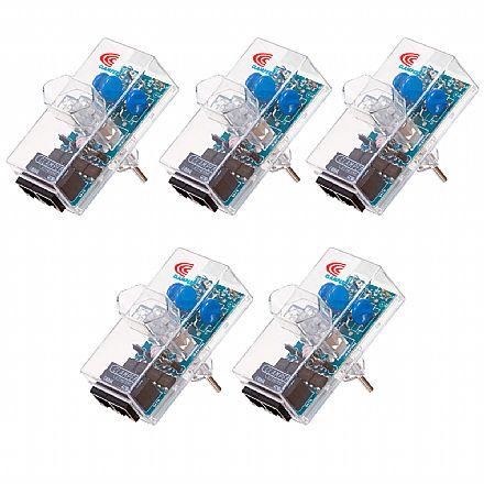 Kit Protetor Contra Raios Clamper Ethernet RJ45 2P+T - até 100Mbps - Transparente - 10746 - 5 unidades