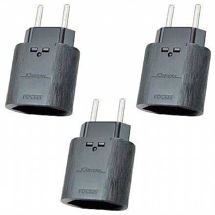 Kit Protetor Contra Raios Clamper iClamper Pocket 2P - DPS - Preto - 10193 - 3 unidades