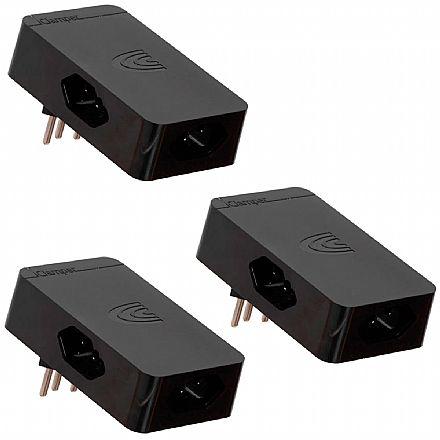 Kit Protetor Contra Raios DPS Clamper Energia 3 - com 3 Tomadas - Plugue Giratório de 180º - Preto - 9910 - 3 unidades