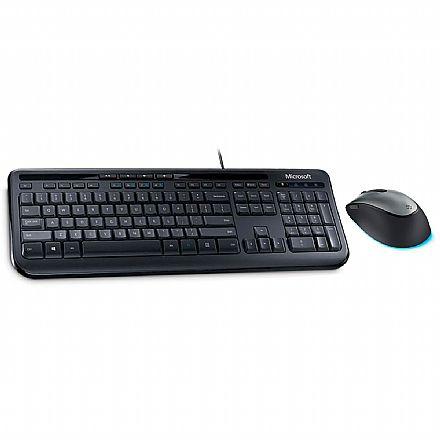 Kit Teclado e Mouse USB Microsoft Wired 600 + Mouse Comfort BlueTrack 4500 - ABNT2 - 1000dpi - ANB-00005 / 4FD-00025