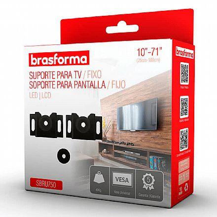 "Suporte para TV/Monitor - Fixo de Parede - Vesa Universal de 10"" a 71"" Brasforma SBRU750"