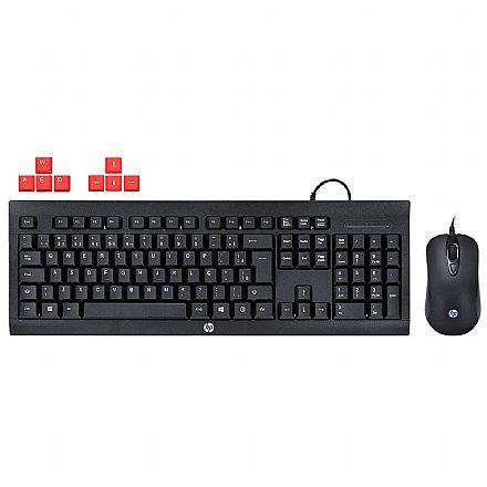 Kit Teclado e Mouse Gamer HP KM100 - ABNT2 - 1600dpi - Keycaps Vermelho - 1QW64AA