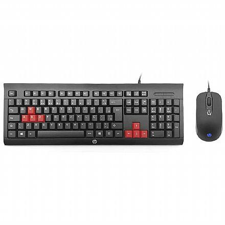 Kit Teclado e Mouse Gamer HP KM100 - ABNT2 - 1600dpi - Keycaps Vermelho - 9XW74AA