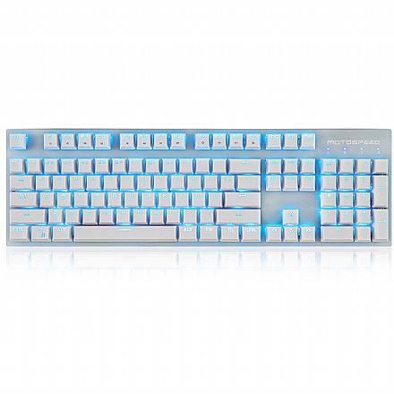Teclado Mecânico Gamer Motospeed GK89 - Padrão US - LED Azul - Switch Azul - Branco - FMSTC0078BRO