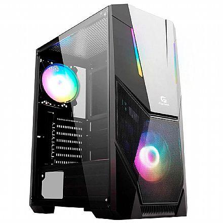 Gabinete Gamer Fortrek Black Hawk - Lateral em Acrílico - Frontal RGB - com 1 Cooler RGB Incluso - 70570