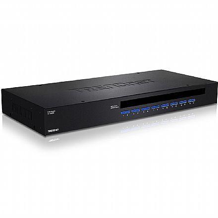 Chaveador KVM TrendNet TK-1603R - 16 computadores em 1 monitor VGA, teclado e mouse - USB e PS/2 - Rack Mount