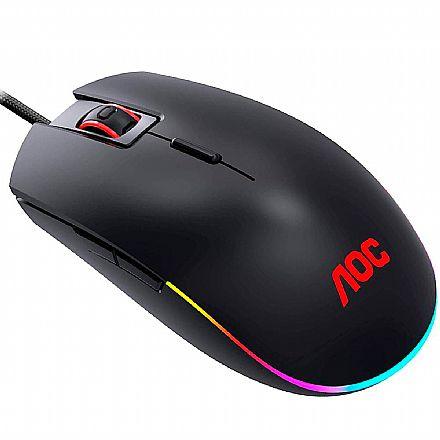 Mouse Gamer AOC GM500 - 5000dpi - 8 Botões Programáveis - RGB - GM500DRBB