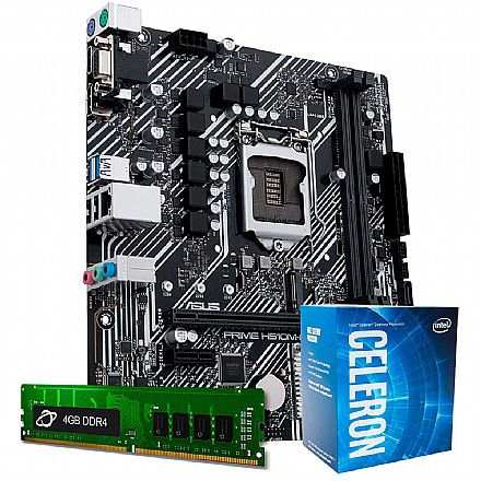 Kit Upgrade Intel® Celeron® G5905 + Asus Prime H410M-E + Memória 4GB DDR4