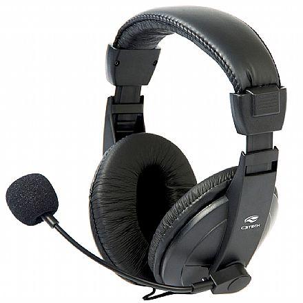 Headset C3 Tech Voicer Confort PH-60BK - Microfone e Controle de Volume - Conector P2