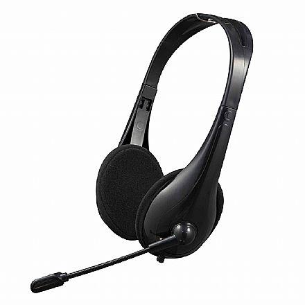 Fone de Ouvido C3 Tech PH-310BK - Microfone e Controle de Volume - USB