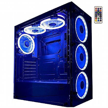 Gabinete Gamer Rise Mode Glass 06 - Lateral e Frontal em Vidro Temperado - 6 coolers RGB e Controle Remoto - RM-CA-06-RGB