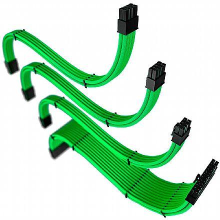 Cabos extensores Sleeved Rise Mode para fonte - 30cm - Verde - RM-SL-FG