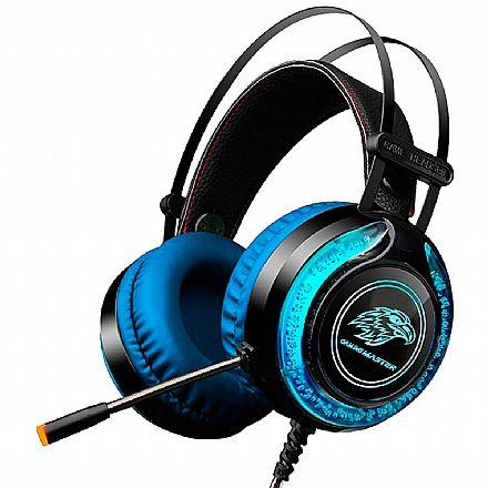 Headset Gamer K-Mex ARS9 - Microfone - LED Multicores - Conector P2 e USB para Energia - Preto e Azul - AR-S9300