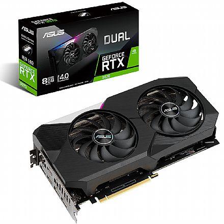 GeForce RTX 3070 8GB GDDR6 256bits - Asus Dual 90YV0FQ1-M0NA00 - Selo LHR