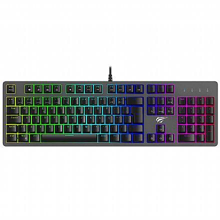 Teclado Mecânico Gamer Havit HV-KB492L - ABNT2 - RGB - Switch Azul