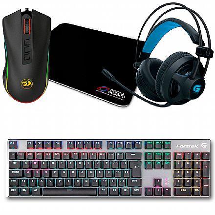 Kit Gamer Mouse Cobra Chroma Redragon + Mousepad Bits Gamer + Teclado Mecânico Fortrek Black Hawk + Headset Fortrek G Pro H2