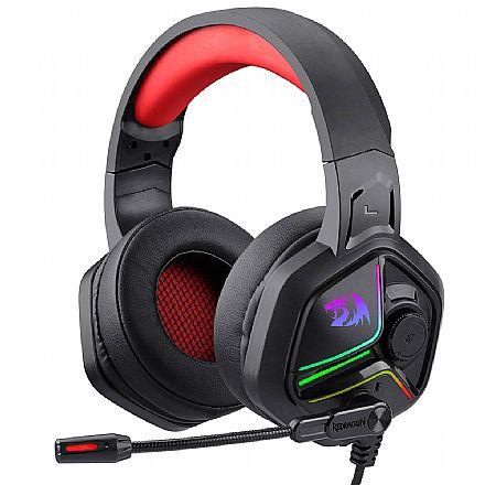 Headset Gamer Redragon Ajax H230 - Controle de Volume e Microfone - RGB - Conector P2 e USB para Energia