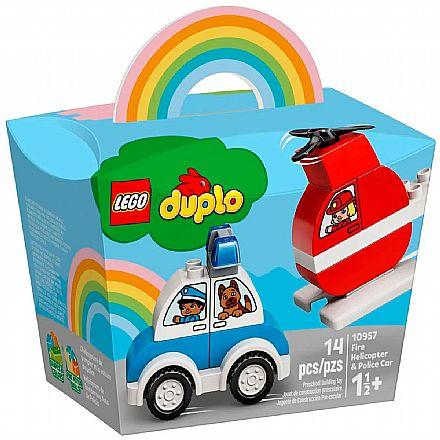 LEGO DUPLO - Helicóptero dos Bombeiros e Carro da Polícia - 10957