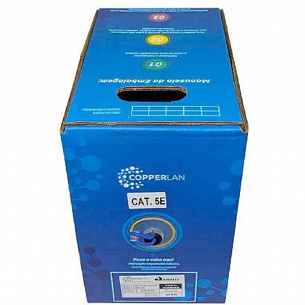 Caixa de Cabo UTP Cat 5e para Redes - Copperlink 15113 - 100% Cobre - Homologado - 305 metros - Azul