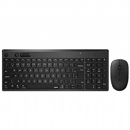 Kit Teclado e Mouse sem Fio Rapoo 8050T - ABNT2 - 1300dpi - Bluetooth e USB - RA003