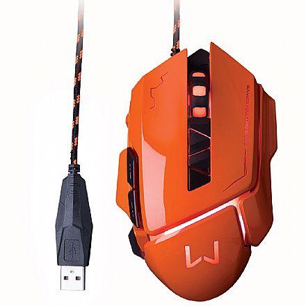 Mouse Gamer Multilaser Warrior Ivor - 3200dpi - 7 Botões - Laranja - MO263