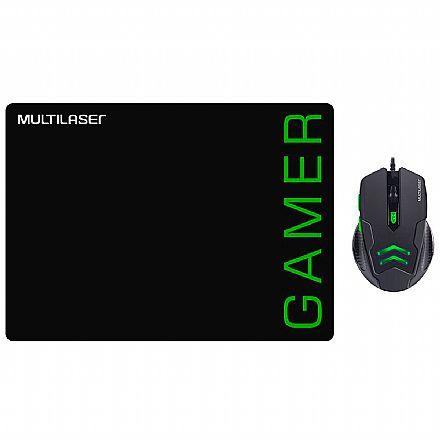 Kit Mouse e Mousepad Gamer Multilaser MO273 - 3200dpi - Preto e Verde