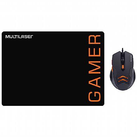 Kit Mouse e Mousepad Gamer Multilaser MO274 - 3200dpi - Preto e Laranja