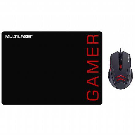 Kit Mouse e Mousepad Gamer Multilaser MO306 - 3200dpi - Preto e Vermelho