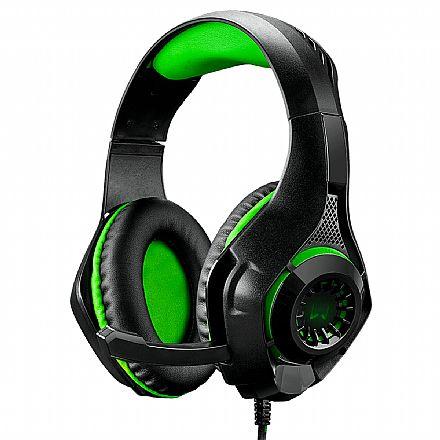 Headset Gamer Multilaser Warrior PH299 - Microfone - para Console e PC - LED Verde