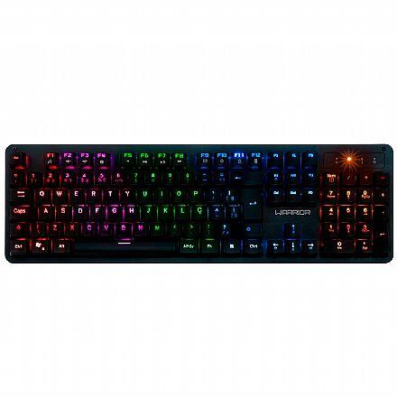 Teclado Mecânico Gamer Multilaser Warrior Dunky - ABNT2 - LED Rainbow - Swtich Azul - TC248