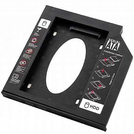 Adaptador Caddy GT-DH02 - Converte baia de gravador de laptop para SSD ou HD - 12,7mm - Goldentec 39889
