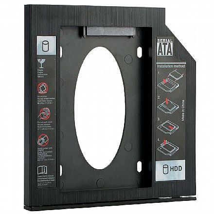 Adaptador Caddy - Converte baia de gravador de notebook para SSD ou HDD - 9.5mm - Goldentec 42945