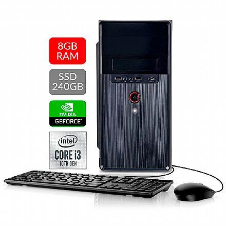 Computador Bits WorkHard - Intel i3 10100F, 8GB, SSD 240GB, GeForce GT210, Kit Teclado e Mouse, FreeDos - 2 Anos de garantia