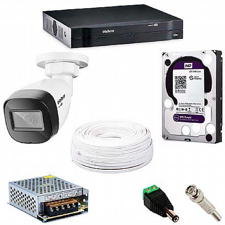 Kit CFTV Intelbras - DVR 16 Canais MHDX 1116, 8 Câmeras Bullet VHD 1120 B G5, HD 2TB, Fonte Chaveada, Cabo Coaxial 100 metros, 8 Plugs P4 Macho + 16 Conectores BNC Macho