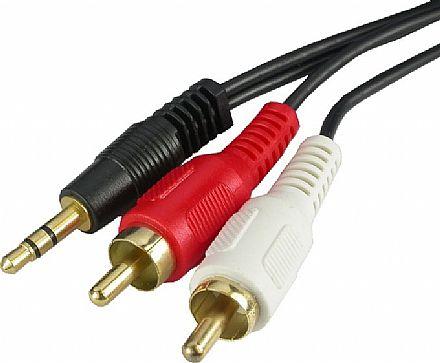 Cabo de Áudio P2 para 2 RCA Stereo - 1,8 metros (P2 M X 2 RCA M)