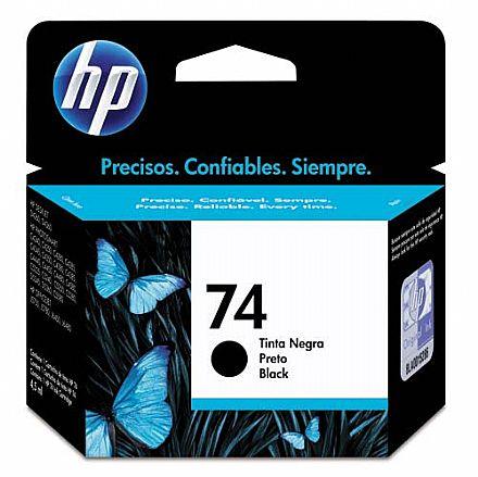 Cartucho HP 74 Preto - CB335WB - para HP Deskjet D4260 / 4360 / Photosmart C4280 / C4385 / C4480 / C5280 / C5360 / Officejet J5780 / J6480
