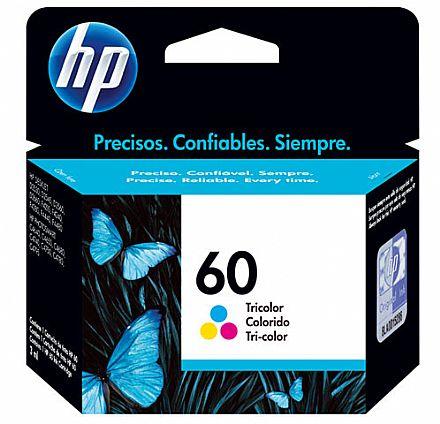 Cartucho HP 60 Colorido - CC643WB - Para HP Deskjet D1660 / D2530 / D2545 / D2560 / D2660 / F4280 / F4480 / Photosmart C4680 / C4780