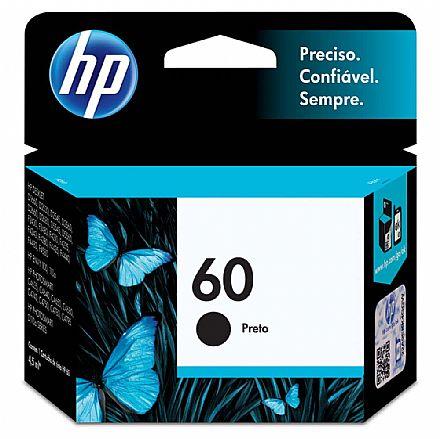 Cartucho HP 60 Preto - CC640WB - Para HP Deskjet D1660 / D2530 / D2545 / D2560 / D2660 / F4280 / F4480 / Photosmart C4680 / C4780